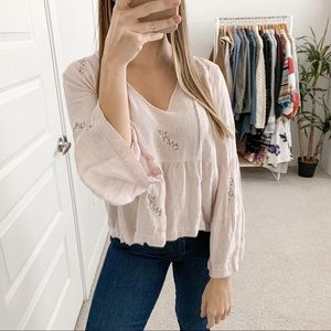 McGuire Floral Embroidered Long Sleeve Blouse Pink